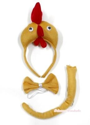 3D Farm Animal Chicken Party Costume Cute Headband with Bow & Tail 3 pcs set   eBay