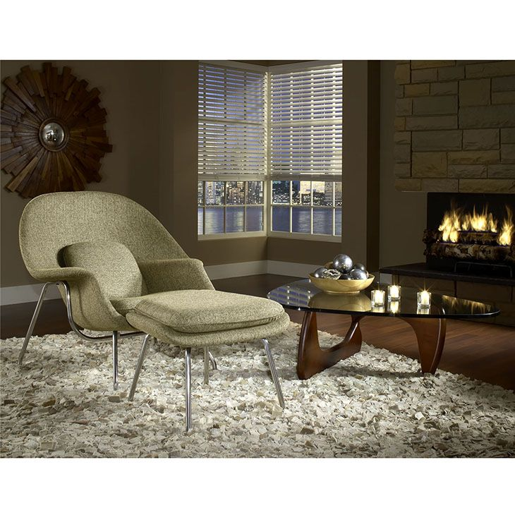 """W FABRIC LOUNGE CHAIR IN OATMEAL Concerted efforts run deep in the expansively designed Womb Chair. First intended as a chair you """"can curl up in,"""" it has since become a symbol for organic living. The natural motif portrays growth amidst silent resolve. Perhaps this is what makes the Womb both a reception and a lounge chair. Each of us would like to find our place as it were. Whether this means feeling welcomed in by the reception halls of businesses, or feeling welcome to relax into our own…"""
