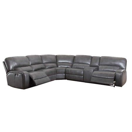 Acme Saul Sectional Sofa with Power Motion and USB Dock, Gray Leather-Aire