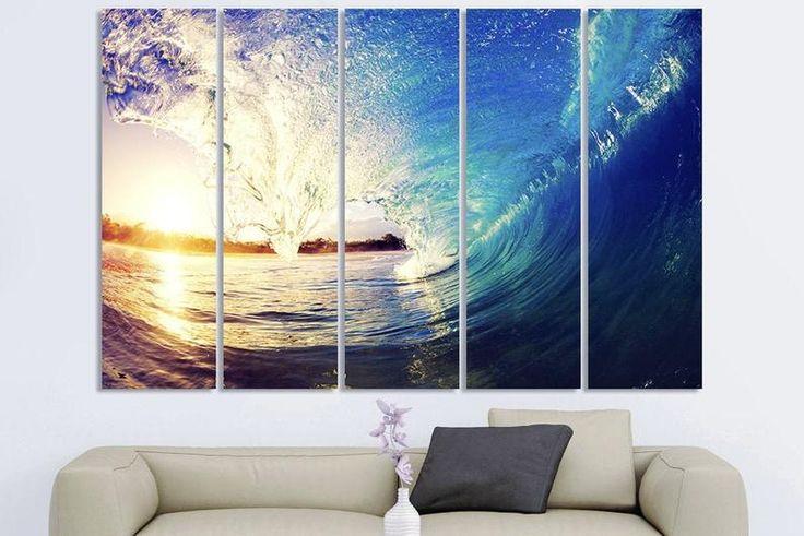 Sunset Canvas Art Sunset Art Print Sunset Wall Art Waves Print Waves Wall Art Waves Poster Waves Canvas Art Waves Art Print Waves Wall Decor