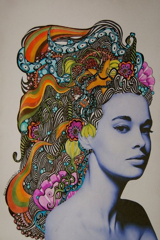 "Saatchi Online Artist: Linda Lovenstein; watercolor 2013 Drawing ""Gloria."" Cool inspiration for high school lesson"