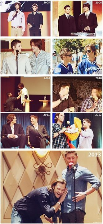 Jensen Ackles & Jared Padalecki through the years. I wish I knew what was happening in the bottom photo. lol