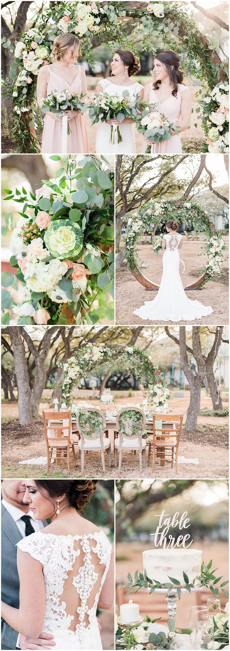 Floral Circle Arch | Blush and Grey Garden Party organic Wedding inspiration Featuring a Floral Circle Arch at Hyatt Regency Hill Country Resort by Allison Jeffers Wedding Photography 0005