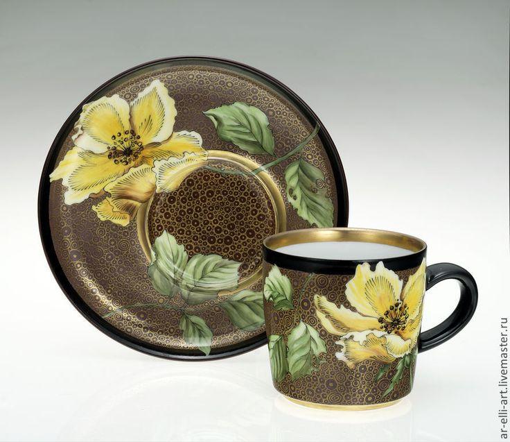 """Купить Фарфоровая чайная пара """"Вечер"""" - коричневый, фарфоровая посуда, чайная пара с росписью"""