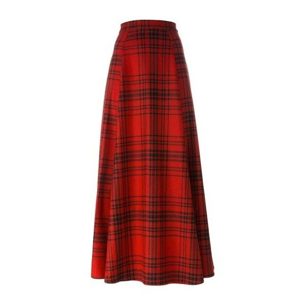 WOOLRICH Tartan Maxi Skirt (€265) ❤ liked on Polyvore featuring skirts, red, plaid maxi skirt, floor length skirts, ankle length skirt, tartan maxi skirt and long red skirt