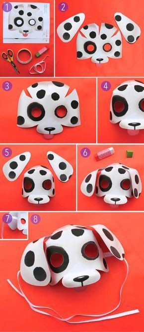 Fun and simple - how to make a dog mask with printable pattern by Happythought!