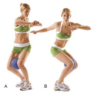 ~ Stand with knees slightly bent and squeeze a small medicine ball between them. Take a small jump, rotating your knees to the right. Then jump to the left. Do two sets of about 20 jumps (or until tired). When 20 gets too easy, sink lower with each twist to a squat, and rotate back up. Repeat with your other side ~