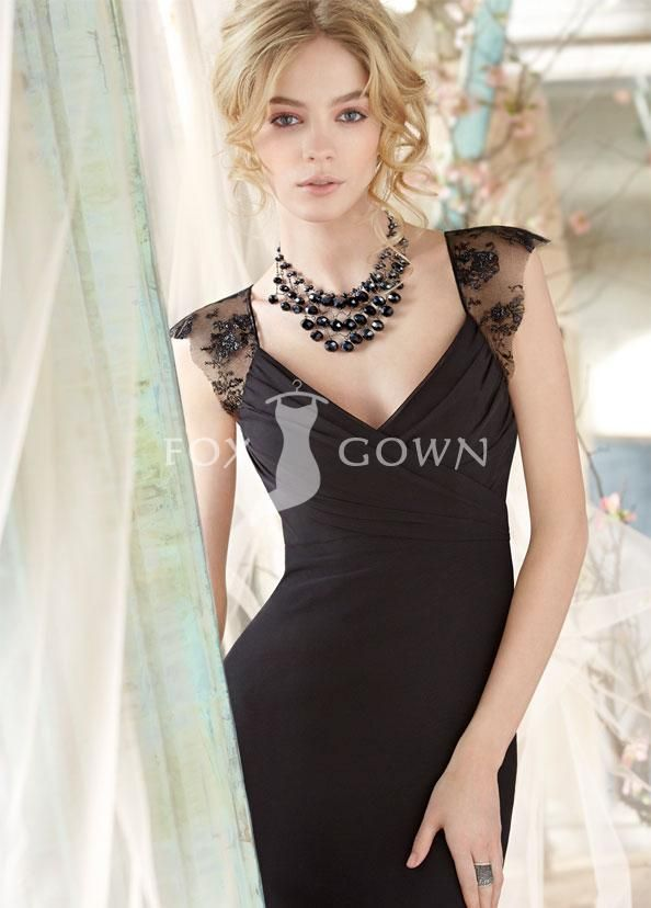 chic black chiffon lace cap sleeve empire v-neck a-line floor length ruched bridesmaid dress