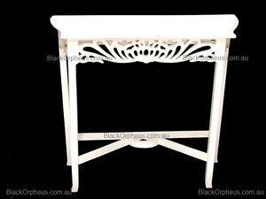 White Table, Timber Hall Table, Small Table, Lamp Table, Carved Table, Lamp.
