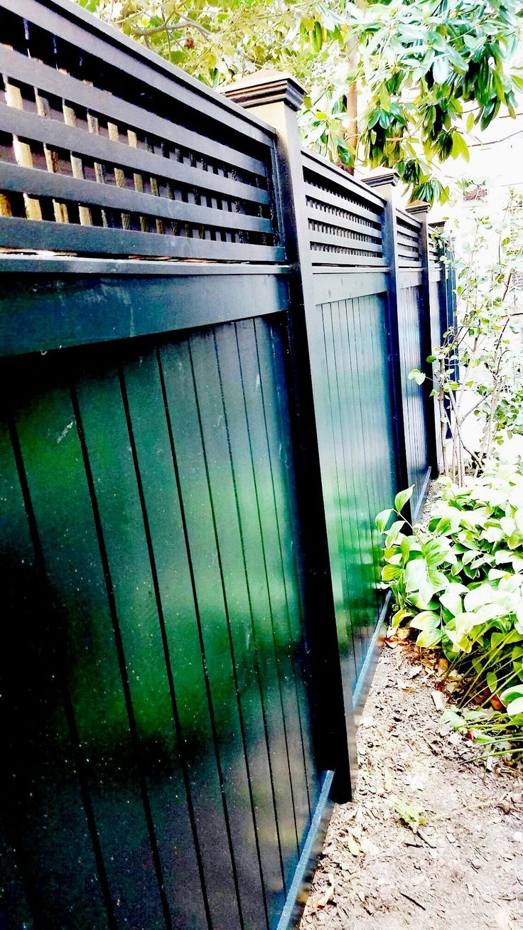 642 best wood fence images on pinterest wood fences fencing and dark green stained cedar fence with square lattice topper baanklon Choice Image