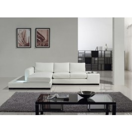 Tosh Furniture Leather Compact Sectional Sofa, White - Modern Living Room Furniture