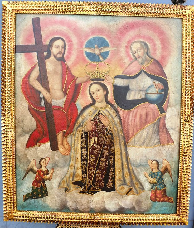 Wonderful painting Coronation Virgin Carmen by the Holy Trinity, oil on canvas