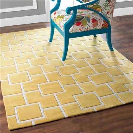 contrasting color and simple geometry are woven in a plush cut and loop pile construction for dimension and durability. Available in 4 fashionable hues: golden Yellow, teal Blue, cocoa Brown and fire Red. 100% Poly/Acrylic pile can be spot cleaned with mild soap and water. Imported. Specify size and color selection when ordering.  Product SKU: XH13099 0508YE Price:  $249.00 i...