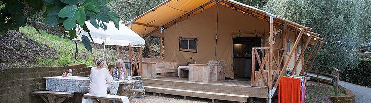 Kampeer in een Safaritent met sanitair of een luxe tunneltent op een leuke familiecamping in Italië. Luxe, stoer en glamour in één. Glamping op de camping!