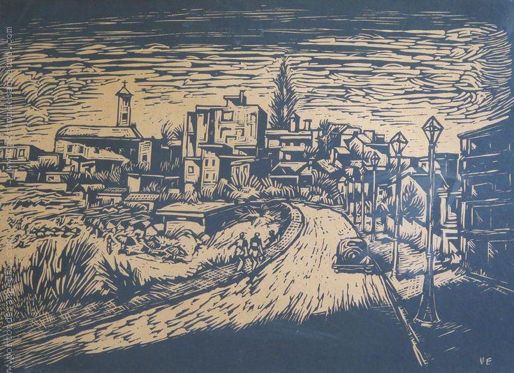 """Eduardo Vernazza """"Pueblito"""" Grabado P/A Prueba de artista  49 x 65 cm. Firmado abajo a la derecha  http://www.portondesanpedro.com/ver-producto.php?id=12925"""
