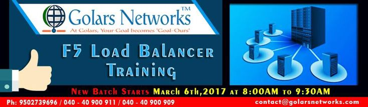 Enroll for F5 Load Balancer Training in Hyderabad at Golars Networks, Leading networking institute with expert trainers on F5 Load Balancer, Call us 09177091770