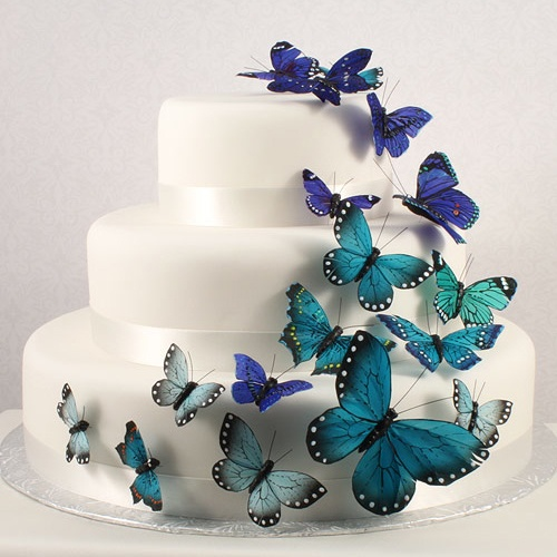 Blue beautiful butterfly cake toppers