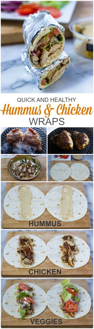 Hummus and chicken Wraps (Quick, Healthy, Adaptable) #easydinner #under30minutes #gyro #shawarma