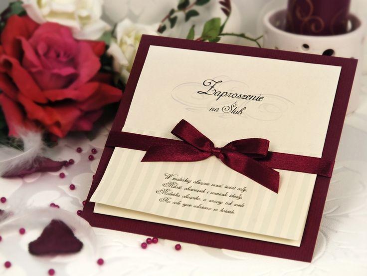 Znalezione obrazy dla zapytania zaproszenia ślubne bordowe