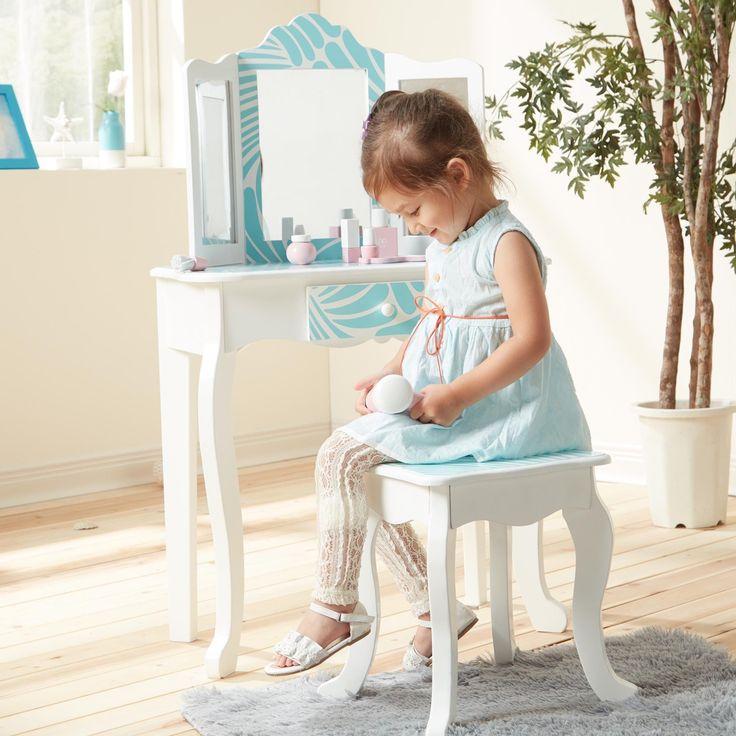 Teamson Kids - Fashion Prints Tropical Vanity Table & Stool Set (Teamson Kids - Vanity Table & Stool Set), Turquoise