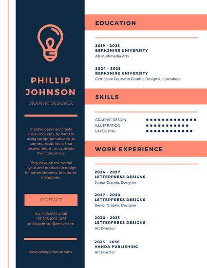 Blue and Coral Modern Resume resumes Modern resume, Resume