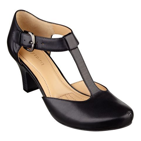 "Love the Rebelle? Easy Spirit's new, comfortable dress shoes feature a T-strap with adjustable buckle for an easy fit. Our Ramata shoes have a cushioned insole for added comfort and foot-flattering almond shaped toe with tailored detailing for added style. If you're on your feet all day but want to look fabulous, these are the ideal shoes. These comfortable dress shoes are available in medium widths and wide widths. 2 1/2"" high heels."