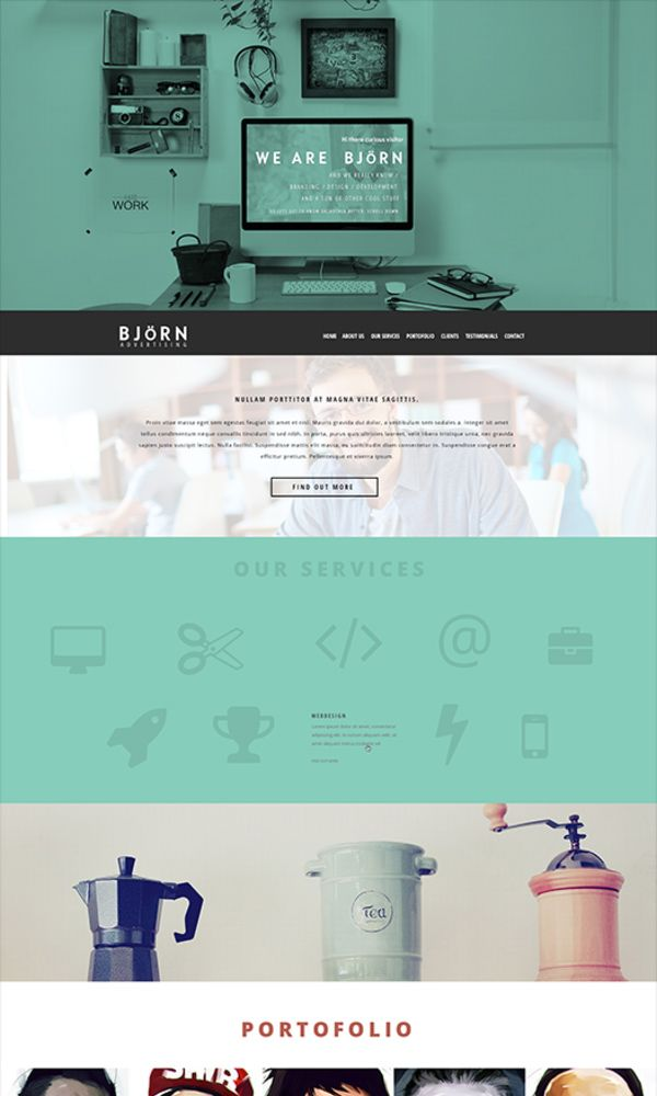 BJöRN - The theme is created for parallax and it gor well with simple html and even with wordpress, magento or custom CMS.