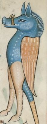 Detail from The Luttrell Psalter, British Library Add MS 42130 (medieval manuscript,1325-1340), f172r: