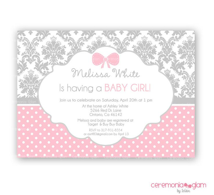 43 best Girl Baby Shower Invitations images on Pinterest | Shower ...