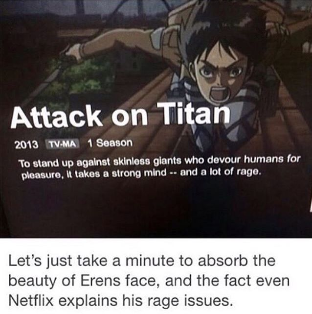 Oh, Eren, you have so many anger issues. Bit I don't think this show is rated TV-MA just go on YouTube or adult swim and it will say TV-14.