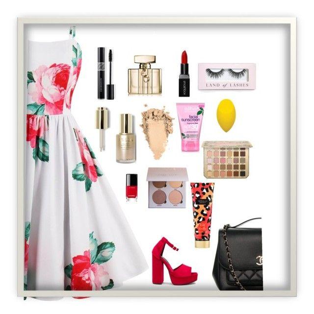 """pretty day"" by shivani-arvind on Polyvore featuring Jeffrey Campbell, Smashbox, Christian Dior, Gucci, Stila, Alba Botanica, Boohoo, Chanel and Victoria's Secret"