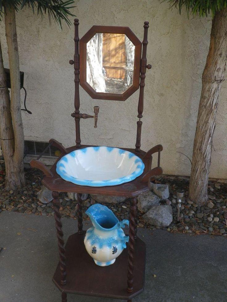 Antique vintage blue porcelain wash bowl basin pitcher w for Wash basin mirror price