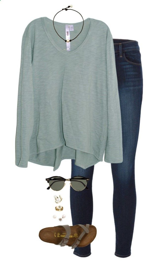 chill/chilly by tessorastefan ❤ liked on Polyvore featuring J Brand, Wilt, Birkenstock, Ray-Ban, J.Crew and Kendra Scott