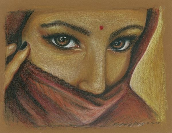 India Woman Drawing - India Woman Fine Art Print