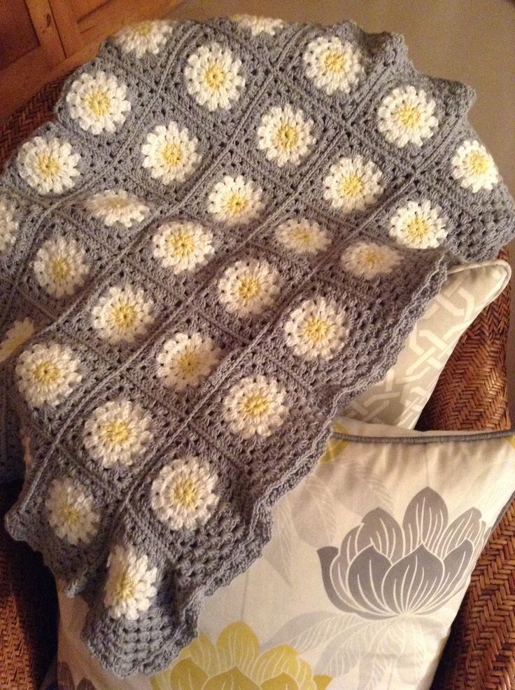 Crochet blanket. Just because I love yellow and grey! Made this for my lounge.... By Kari