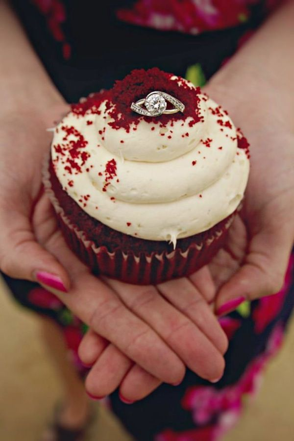 100 Unique and Fun Engagement Photo Ideas_ Because, who wouldn't want an engagement picture with a cupcake?!