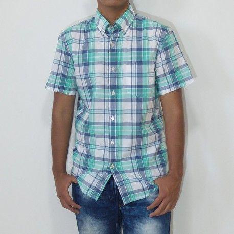 Camisa Sonoma manga corta con bolsillo a cuadros verde