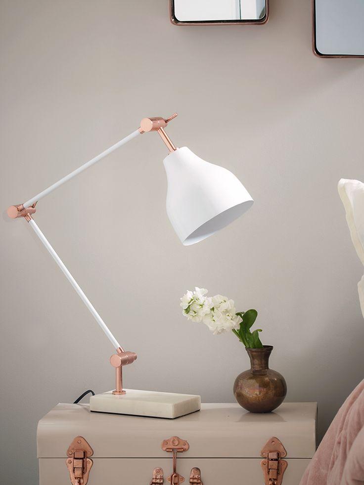 Copper and White Marble Desk Lamp   Cox & Cox