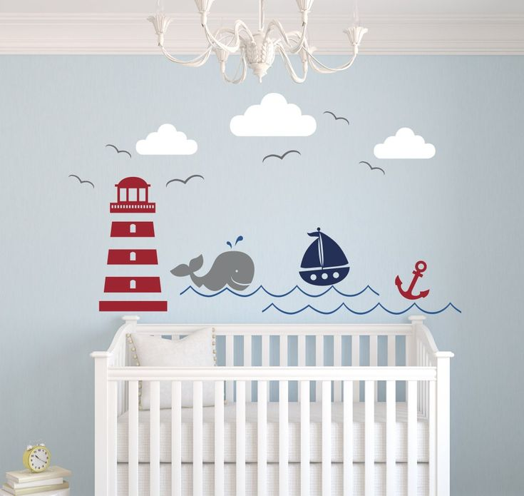 Nautical Theme Wall Decal - Nautical Decor - Nursery Wall Decal - Whale and Sailboat - Vinyl Baby Nursery Decor