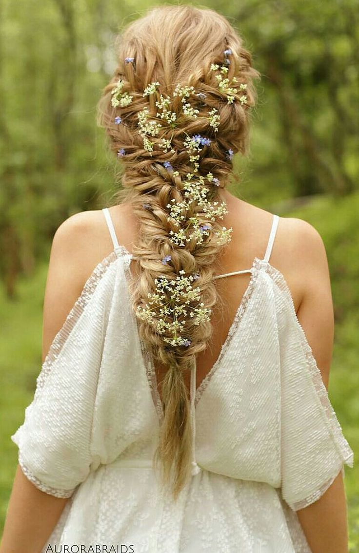 Medieval-ish Inspired Hairstyle. Fresh flowers  really make the braids look more…