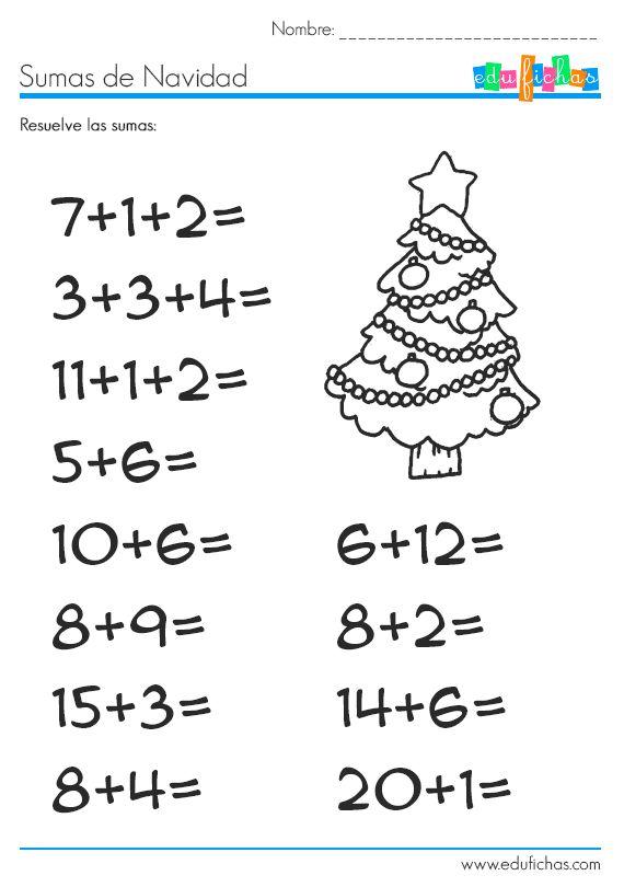 Sumas de Navidad  http://www.edufichas.com/actividades/matematicas/sumas/sumas-de-navidad-con-dibujo/  #sumas #navidad #niños