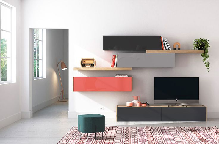 Composición modular para salones modernos. Ideas para salones modernos, muebles TV. Living room modern ideas. Diseña tu salón. Design you living. Acabados cristal carbón brillo, carbón mate, cristal gris brillo, gris mate, cristal cayena brillo, cristal carbón mate.