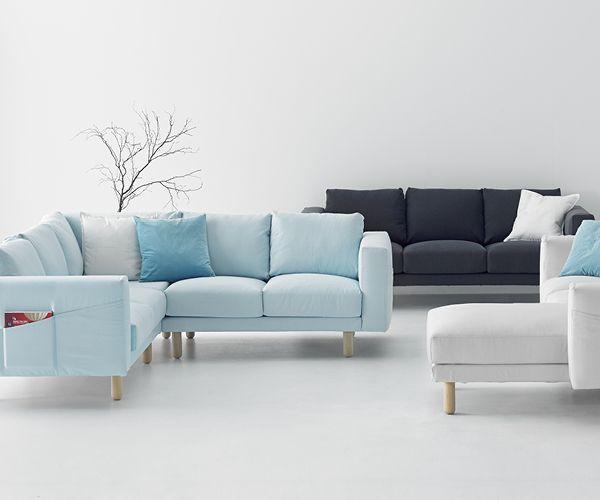 NORSBORG 3er-Sofa - grau, Edum dunkelblau - IKEA Wohnen