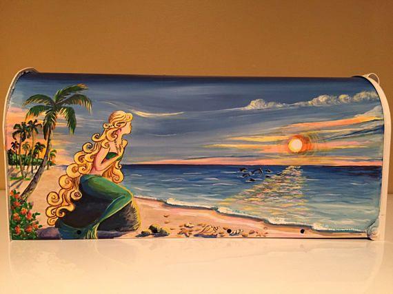 Hand Painted custom mailbox Mermaid at the sunset watching