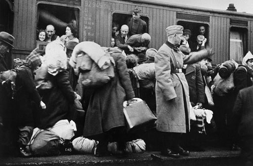 Jews Getting On Train Cars Leaving The Warsaw Ghetto
