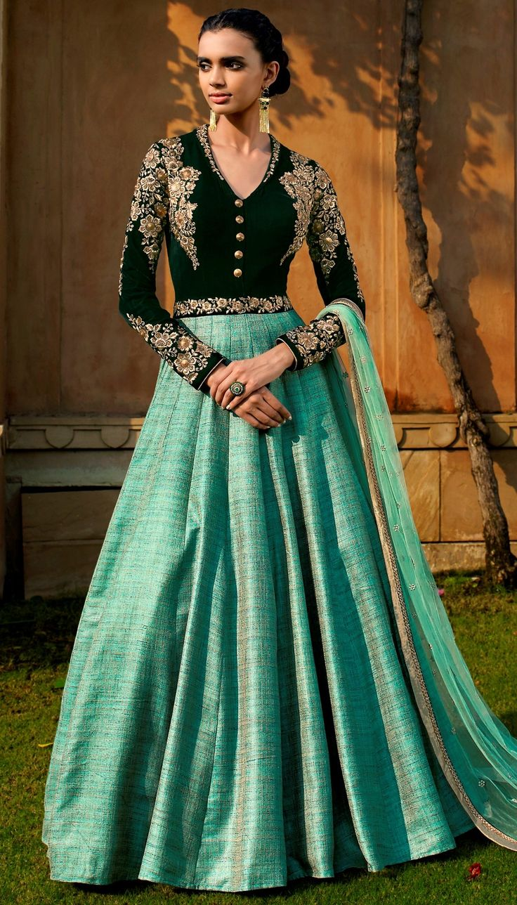 Green Velvet Khadi Resham Stone Embroidered On Neck Beautiful Floor Length Anarkali Suit With Net Du