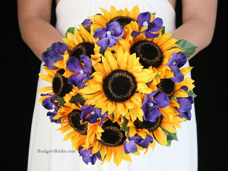 Yellow and purple wedding flowers