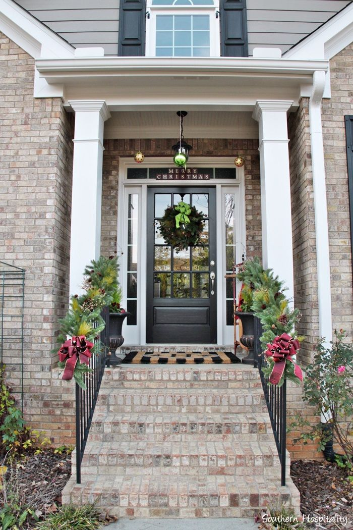 Christmas Front Porch With Wreaths and Garlands - Southern Hospitality