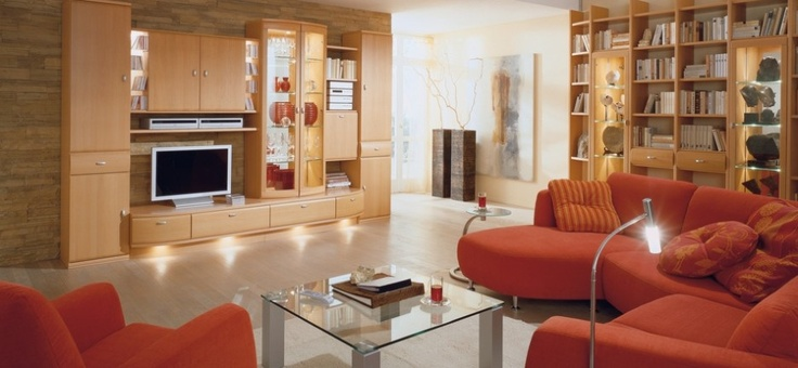 Various Pictures of Modern Living Rooms: Modern Orange Sofa ~ Living Room Inspiration