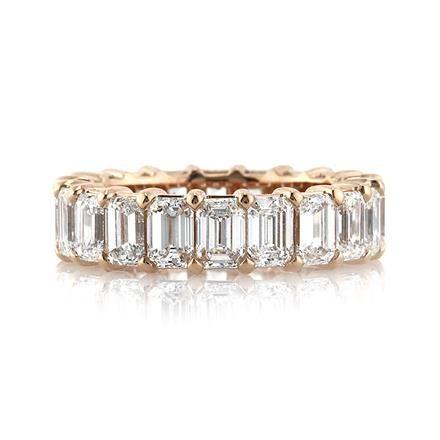 6.30ct Emerald Cut Diamond Eternity Band in 18k Rose Gold